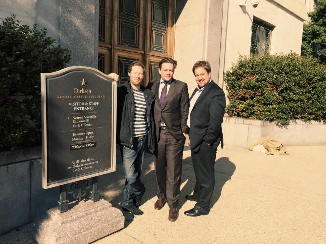 USA Reise März 2014 Jan Philipp Albrecht Konstantin von Notz Malte Spitz vor US Kongreß
